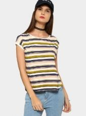 Abof Women White & Navy Blue Striped Regular Fit T-shirt for Rs. 595