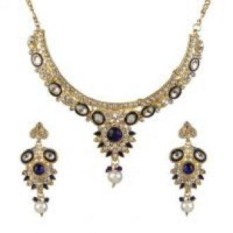 Get 68% off on Kriaa by JewelMaze Zinc Alloy Gold Plated Multicolor Austrian Stone  Kundan Necklace Set-AAA0751