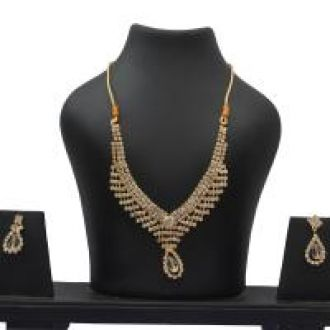 Buy Menal Gold Plated White Diamond Necklace Set from ShopClues