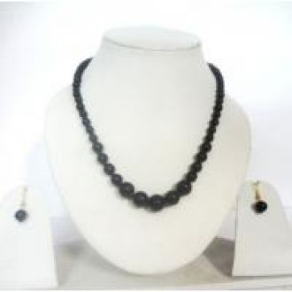 Buy SMART STRINGS Black Graded Beads Jewelry Necklace Set (Size- 16 inches) for Rs. 189