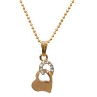 Buy JewelMaze Zinc Alloy Austrian Stone Gold Plated Love Shape Pendant Set-FAE0127 from ShopClues