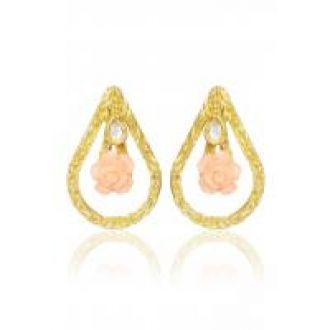 Flat 80% off on Meia Dazzling Orange Rose Gold Plated Kundan Earring For Women