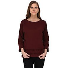 Buy RIGO Maroon Sweatshirt with Pom Pom Lace Hem for Women for Rs. 399