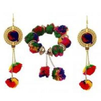Buy Urbanela Navratri Special Pom Pom Earring And Braclet Combo Fashion Jewellery ADUEBC114 for Rs. 129