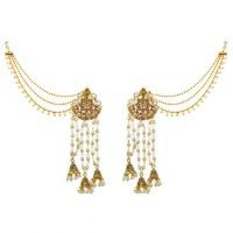 Buy Meia Brown Austrian Stone And Pearl Gold Plated Dangler Kan Chain Earrings -AAA2208 for Rs. 225
