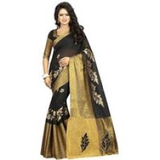Get 80% off on Indian Style Sarees New Arrivals Latest Women's Art Silk Poly Cotton embroidered Traditional self Design Saree with blouse VISHWA WORK  BLACK