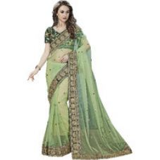 Buy Glory sarees Green Georgette Embroidered Saree With Blouse for Rs. 1,049