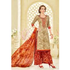 Sareemall Beige Embroidered Party Wear Plazzo Abstract Print Dress Material With Matching  Dupatta for Rs. 799