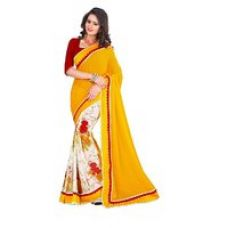 Buy Styloce Yellow Brocade Embroidered Saree With Blouse for Rs. 669