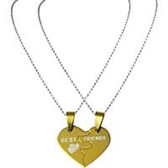 Get 67% off on Men Style Couples Broken Heart Joined  Love Best Friend Necklace (2 pieces - his and her)  Gold  316L Stainless Steel Heart Pendent For Men And Women