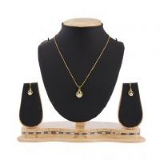Flat 80% off on Jazz Jewellery Gold Plated Pendant Set with Solitaire American Diamond for Women