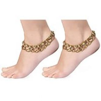 Flat 81% off on Charms Golden Ethnic Antique Kundan Studded Alloy Anklet