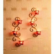 Buy Hosley Set of 2 Metallic Gold Wall Sconce with Red and Clear Glasses for Rs. 389