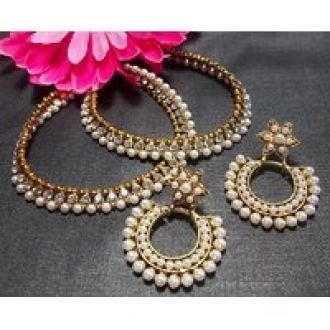 Buy Flower pearl polki and pearl golden anklet from ShopClues