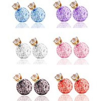 Flat 84% off on Youbella Multicolor Crystal Gracias Collection Two Sided Stud Earrings For Girls And Women(Combo Of 6)