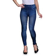 Oleva Blue Plain Denim Look Jegging for Rs. 5