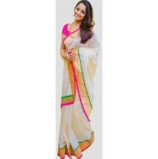 Flat 74% off on Meia White Lace Chanderi Saree With Blouse