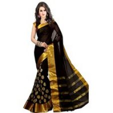Bhuwal Fashion Black Embroidered Polycotton Saree With Blouse for Rs. 5