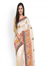 Buy Colors Off-White Embroidered Art Silk Saree for Rs. 1049