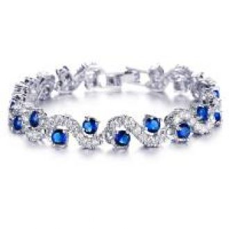 Flat 83% off on Mahi Rhodium Plated Rich Royal Blue Crystals Bangle For Women BR1100276R