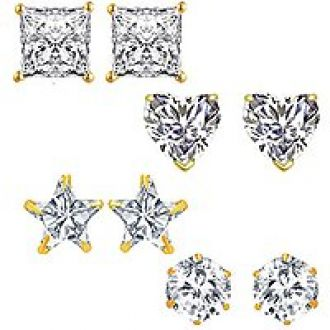Flat 88% off on Om Jewells Fashion Jewellery Combo of 4 Gold Plated CZ Studs Earrings for Girls and Women CO1000081