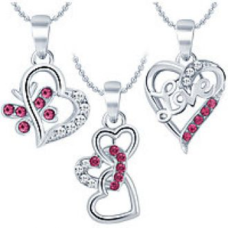 Buy Sukkhi Delightly Heart Rhodium Plated AD Set of 3 Pendant Combo For Women from ShopClues