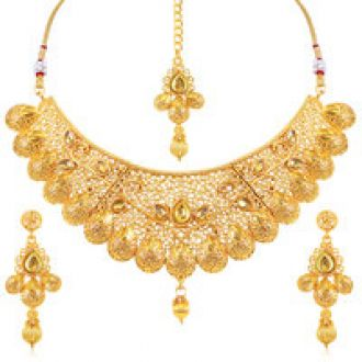 Get 78% off on Sukkhi Traditional Gold Plated Kundan Choker Necklace Set for Women