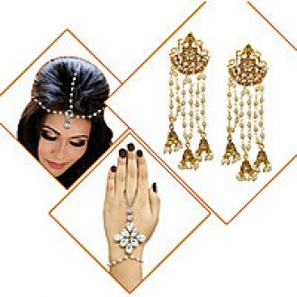 Flat 60% off on Meia Gold Plated Zinc Alloy Set Of 3 Jewellery Combo-PAA1517