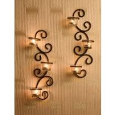 Buy Hosley Set of 2 Antique Bronze Decorative Wall Sconce with Clear Glass and Free Tealights from ShopClues