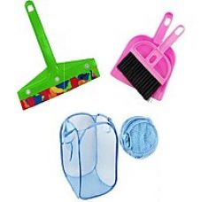 Pink Plastic Combo Of Foldable Net Laundry Bag , Mini Dustpan And Mini Kitchen Wiper for Rs. 199