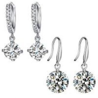 Buy Mahi Rhodium Plated Combo of Ethereal White Drop and Hoop Earrings with Crystal Stones CO1104651R from ShopClues