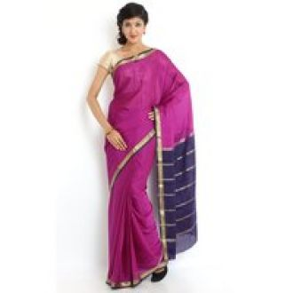 Flat 39% off on Sudarshansilk Pink Chiffon Self Design Saree With Blouse