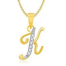 Flat 50% off on Vk Jewels Alphabet Collection Initial Pendant Letter K Gold  Rhodium Plated