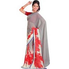 Buy Sunaina Printed Mysore Synthetic Georgette Sari SARE979YAYJHTRM2 from ShopClues
