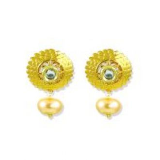 Buy Zaveri Pearls Gold Floral Kundan with Pearl Drop Earrings-ZPFK5253 for Rs. 220