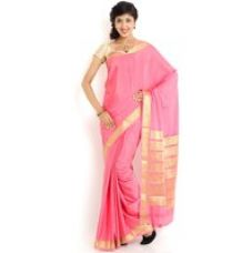 Buy Sudarshan Silks Khaki Raw Silk Self Design Saree With Blouse for Rs. 5,079