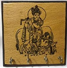 Karigaari India Wooden Engraving Krishna with Cow Key Holder (4 Hooks) for Rs. 129