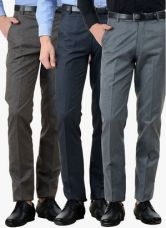 Buy American-Elm Pack Of 3 Multicoloured Slim Fit Formal Trousers from Jabong