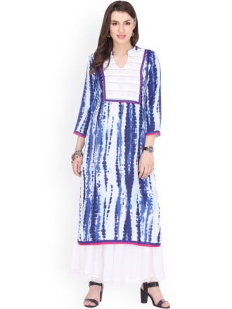 Buy Women Blue Printed Straight Kurta for Rs. 712