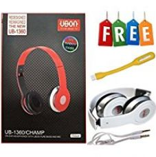UBON Earphone UB-1360 For All Samsung, Xolo , Micromax, Oppo,One Plus Lava and smart Mobiles And Laptop+ FREE HIGH QUALITY USB LED LIGHT + SAME DAY SHIPMENT USING AMAZON TRANSPORT SERVICE for Rs. 379