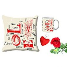 MeSleep All Side Love Valentine Digital Printed Cushion (With Filler) & Mug With Free Artificial Rose And Key Chain for Rs. 579
