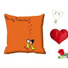 MeSleep Be My Valentine Digital Printed Cushion (With Filler) With Free Heart Shaped Filled Cushion and Artificial Rose and Pendant Set for Rs. 549