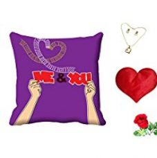 Buy meSleep Me & You Valentine Digital Printed Cushion (With Filler) With Free Heart Shaped Filled Cushion and Artificial Rose and Pendant Set from Amazon