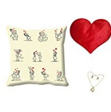 MeSleep Cartoon Valentine White Digital Printed Cushion (With Filler) With Free Heart Shaped Filled Cushion and Pendant Set for Rs. 549