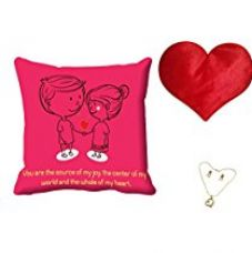 MeSleep Pink Quotes Valentine Digital Printed Cushion (With Filler) With Free Heart Shaped Filled Cushion and Pendant Set for Rs. 549