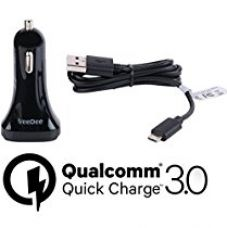 Qualcomm ® Certified VeeDee ™ Dual USB Quick Charge 3.0 QCC01 42W Car Charger for Samsung Galaxy S7 / S6 / Edge / Plus, Note 5 / 4 and iPhone 7 / 6s / Plus, iPad Pro / Air 2 / mini, LG, Nexus, HTC and More + Free 24 AWG Fast Charging Cable QC 3.0 for Rs. 799