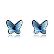 Buy Tia Jewels Deep Blue Rhodium Plated Stud Earrings for Women from Amazon
