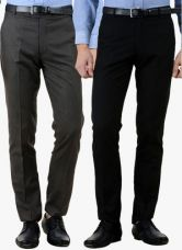 Flat 50% off on American-Elm Pack Of 2 Multicoloured Solid Slim Fit Formal Trousers