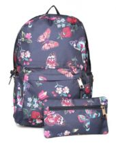 Flat 70% off on Women Navy Printed Backpack