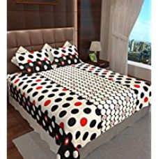 Home Candy 144 TC Dots Cotton Double Bedsheet with 2 Pillow Covers - Multicolor for Rs. 499